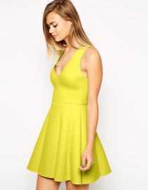 Bonded Raw Edge Lime Skater Dress at Asos