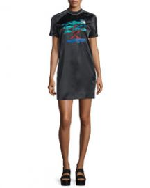 Bonsai-Embroidered Silk Varsity Dress  at Neiman Marcus