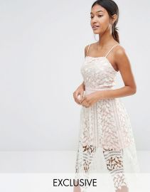 Boohoo   Boohoo Exclusive Premium Lace Cami Midi Dress at Asos