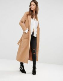 Boohoo Longline Belted Tailored Coat at asos com at Asos