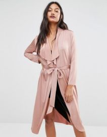 Boohoo Shawl Collar Slinky Duster at asos com at Asos