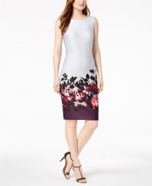 Border-Print Scuba Sheath Dress  Calvin Klein at Macys