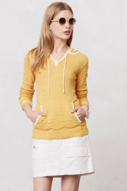 Bordered Knit Hoodie at Anthropologie