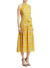 Borgo de Nor - Dora Sleeveless Ruffle Midi Dress at Saks Fifth Avenue