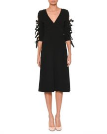 Bottega Veneta V-Neck Bow-Sleeve A-Line Crepe Dress at Neiman Marcus