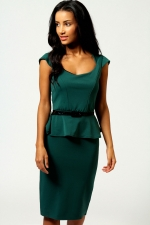 Bottle green peplum dress at Boohoo