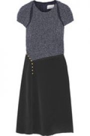 Boucl   and silk crepe de chine dress at The Outnet
