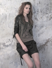 Bourbon leather jacket by Nue at Tamarindi