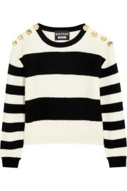 Boutique Moschino  Cropped striped ribbed wool sweater at Net A Porter