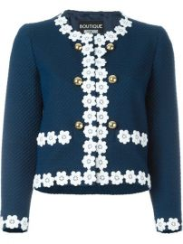 Boutique Moschino Flower Trim Cropped Jacket  - Tessabit at Farfetch