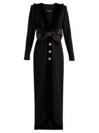 Bow-trimmed V-neck wool-blend crepe dress at Matches
