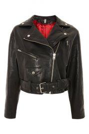 Boxy Leather biker Jacket at Topshop