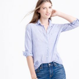 Boy shirt in blue skinny stripe at J. Crew