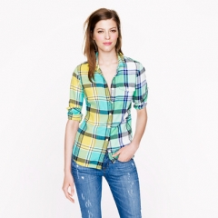 Boy shirt in green plaid at J. Crew
