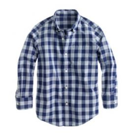 Boys Secret Wash shirt in dark cove gingham at J. Crew