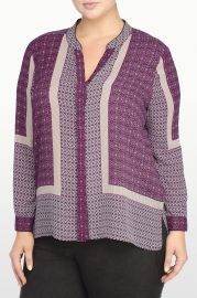 Boysenberry Scarf Print Blouse at NYDJ