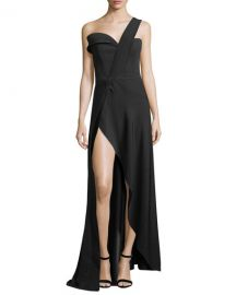 Brandon Maxwell One-Shoulder High-Slit Crepe Gown at Bergdorf Goodman