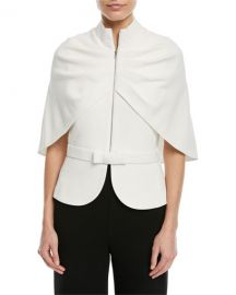 Brandon Maxwell Zip-Front Cape-Sleeve Jacket   Neiman Marcus at Neiman Marcus