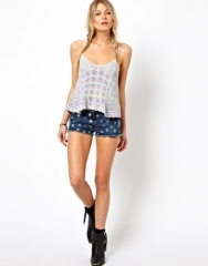 Brave Soul  Brave Soul Denim Shorts With Star Print at Asos