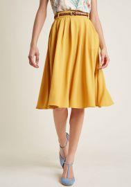 Breathtaking Tiger Lilies Midi Skirt in Mustard at ModCloth