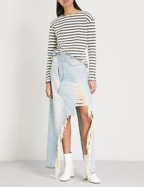 Breton striped distressed cotton-jersey top by R13 at Selfridges