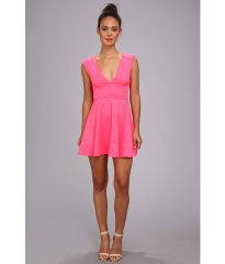 Brigitte Bailey Lauren Scuba Fit N Flare Dress Hot Pink at Zappos