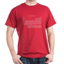 Brown periodic table tee in red at Amazon