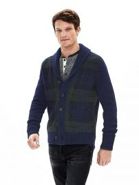 Brushed Plaid Cardigan at Banana Republic