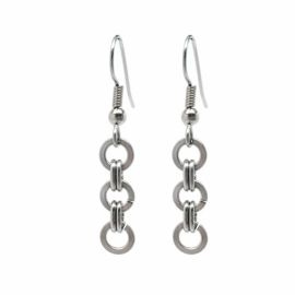 Brushed Steel Simple Chainmaille Dangle Earrings at Loralyn Designs