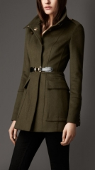 Buckle detail wool cashmere coat at Burberry