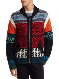 Burberry - Carnell Mixed-Knit Zip Cardigan at Saks Fifth Avenue