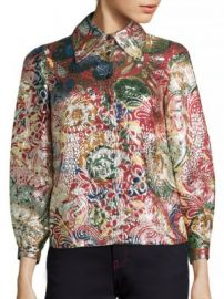 Burberry - Floral Metallic Jacquard Flared-Sleeve Shirt at Saks Fifth Avenue