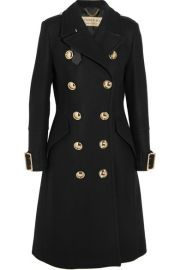 Burberry   Leather-trimmed double-breasted wool-blend coat at Net A Porter