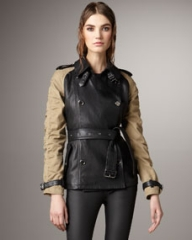 Burberry Brit Canvas-Sleeve Leather Trenchcoat at Neiman Marcus