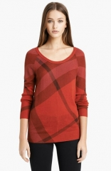 Burberry Brit Check Pattern Merino andamp Cashmere Sweater at Nordstrom