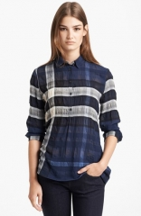 Burberry Brit Sheer Check Print Tunic at Nordstrom