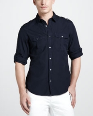 Burberry Brit Tab-Sleeve Military Shirt Navy at Neiman Marcus
