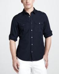 Burberry Brit Tab-Sleeve Military Shirt Navy at Neiman Marcus