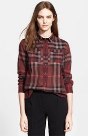 Burberry Brit Woven Check Shirt in red at Nordstrom
