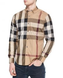 Burberry Brit Woven Check Sport Shirt Tan at Neiman Marcus