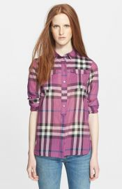 Burberry Brit Woven Check Tunic Shirt at Nordstrom