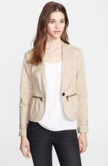 Burberry Brit Zip Detail Stretch Cotton Jacket in beige at Nordstrom