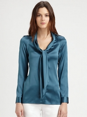Burberry London - Silk Satin Tie Blouse at Saks Fifth Avenue