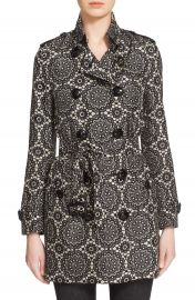 Burberry London  Kensington  Lace Print Silk Trench Coat at Nordstrom
