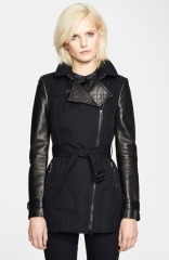 Burberry London Asymmetrical Zip Leather Accent Trench Coat at Nordstrom