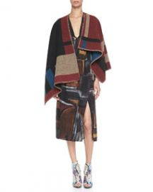 Burberry Prorsum Check Blanket Poncho and Smocked Painted Silk Dress at Neiman Marcus