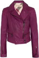 Burberry leather biker jacket in grape purple at Net A Porter