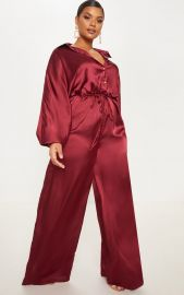 Burgundy Satin Tie Waist Wide Leg Jumpsuit by Pretty Little Thing at Pretty Little Thing