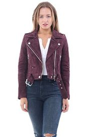 Burgundy Suede Moto Jacket in Morning After by Blank NYC at Amazon