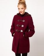 Burgundy duffle coat from ASOS at Asos